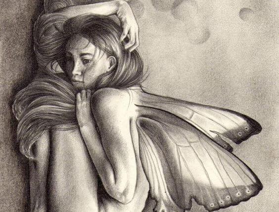 mujer-encogida-con-mariposas